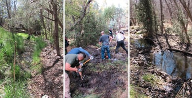 The Acequia Spring before and after restoration