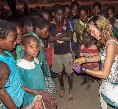 Miambe school kids learning about bats